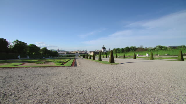 ws tu view of gardens at belvedere palace / vienna, austria - belvedere palace vienna stock videos & royalty-free footage