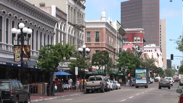 view of gaslamp quarter in san diego united states - san diego stock-videos und b-roll-filmmaterial
