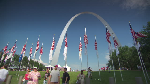 WS View of gateway arch shot through flags / St Louis, Missouri, United States