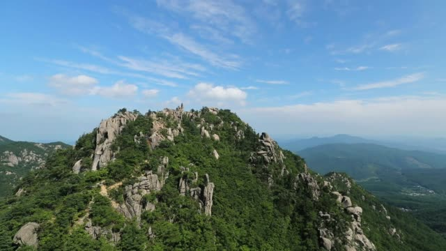 view of gayasan mountain(national park) in hapcheon - rock formation stock videos & royalty-free footage