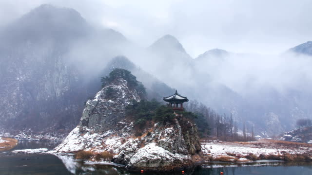 view of gazebo at wollyubong mountaintop (one of the 8 famous spots in hwanggan area) surrounded by wet fog in winter season in yeongdonggun, chungcheongbuk-do, - gazebo stock videos & royalty-free footage