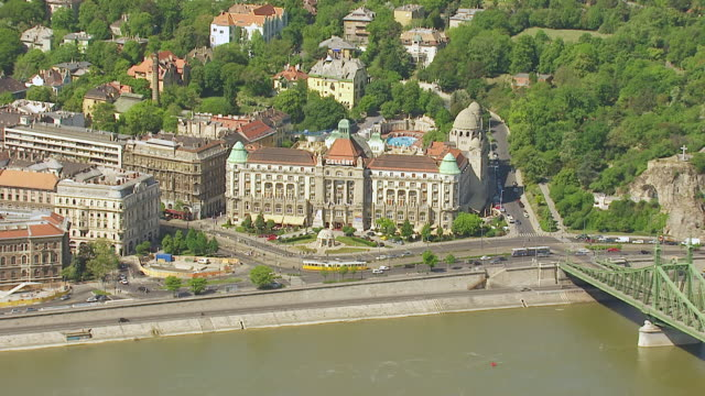ws aerial view of gellert hotel / budapest, hungary - budapest stock videos & royalty-free footage