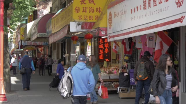 view of general shops in chinatown vancouver british columbia canada north america - chinatown stock videos & royalty-free footage
