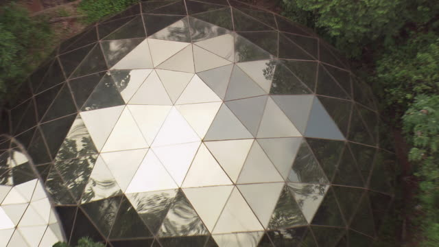 WS AERIAL ZO View of geodesic dome / Bahia, Brazil