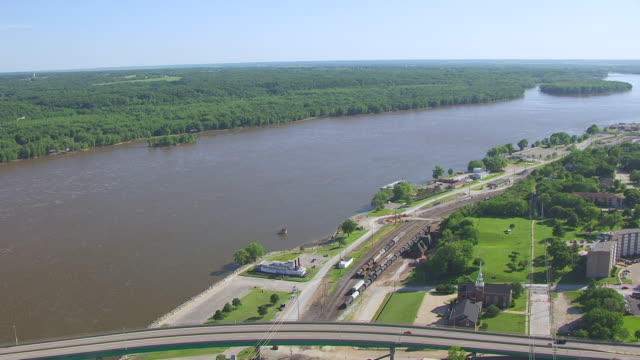 WS AERIAL POV View of George M Verity Museum / Keokuk, Iowa, United States