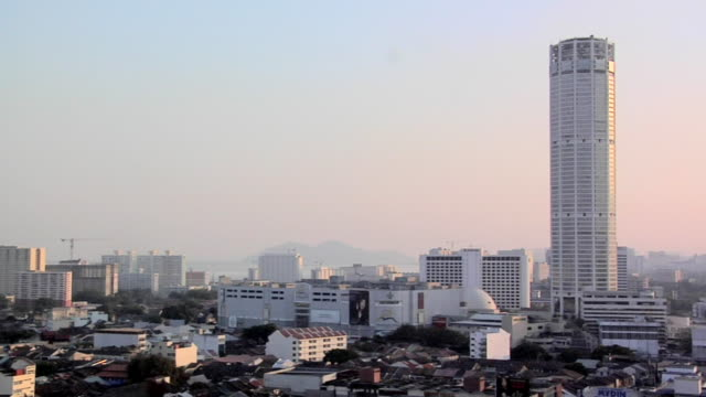 ws view of george town late afternoon with the tallest building in penang-the komtar / george town, penang, malaysia - penang stock videos and b-roll footage