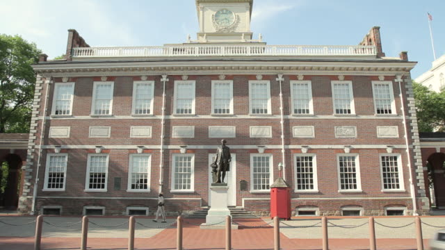 ms tu view of george washington statue in front of independence hall / philladelphia, pa, usa - independence hall stock videos and b-roll footage