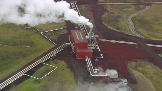 WS AERIAL ZI View of Geothermal power station at Krafla / Iceland