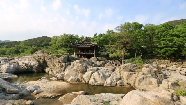 stockvideo's en b-roll-footage met ws pov view of geoyeonjeong gazebo in hamnyanggun / hamnyanggun, gyeongsangnam-do, south korea - gazebo