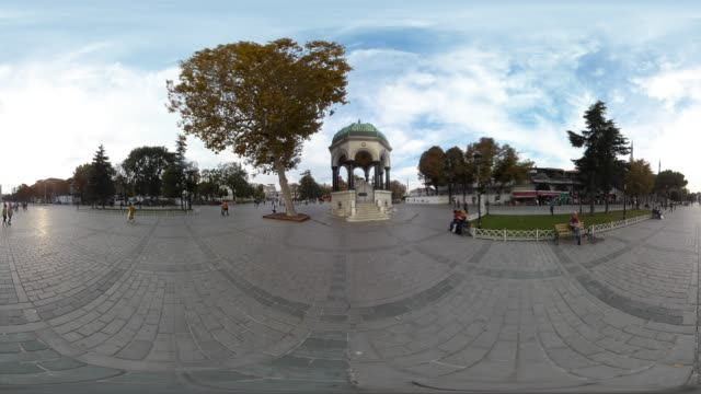 360 VR view of German Fountain at Sultanahmet District in Istanbul Turkey Ocetober 23 2017