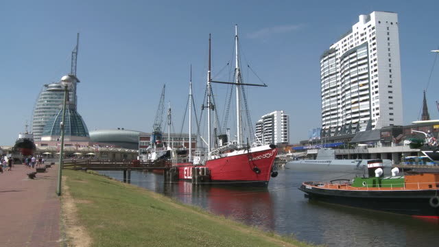 WS View of German ship museum with harbor in background / Bremerhaven, Bremen, Germany