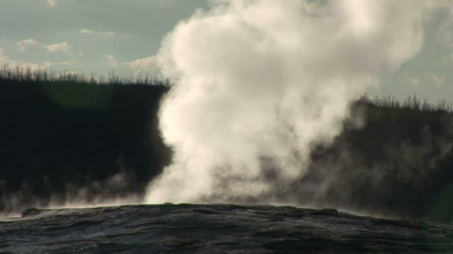 vídeos y material grabado en eventos de stock de view of geyser in yellowstone national park in wyoming united state - usa