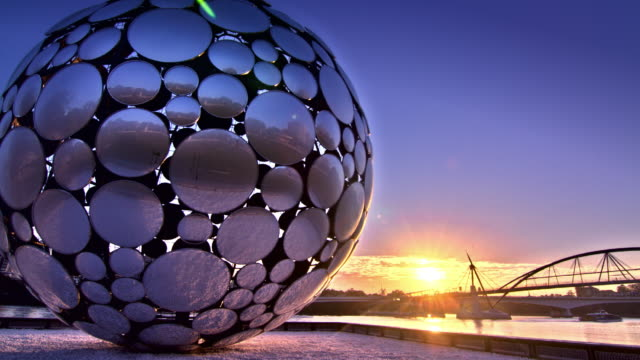 WS TS T/L View of  giant mirrorball / Queensland, Australia