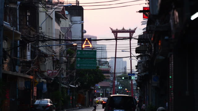 view of giant swing post and street of old town bangkok - bangkok stock videos & royalty-free footage