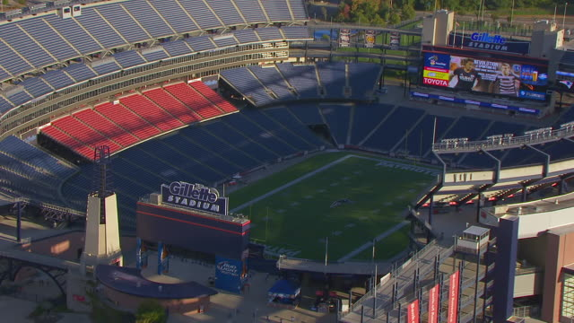 WS AERIAL POV ZO View of Gillette Stadium with landscape/ Foxborough, Massachusetts, United States