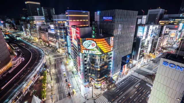 t/l ws ha view of ginza at night / tokyo, japan - ginza stock videos & royalty-free footage