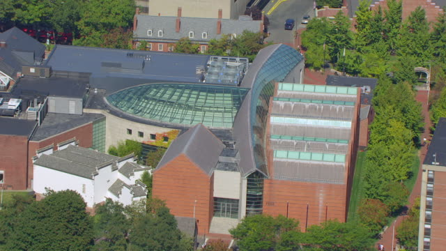 ms aerial pov view of glass atrium rooftop to the peabody essex museum / salem, massachusetts, united states - salem stock videos & royalty-free footage