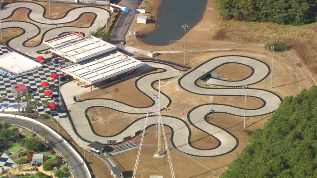 MS AERIAL View of go karting track / South Carolina, United States