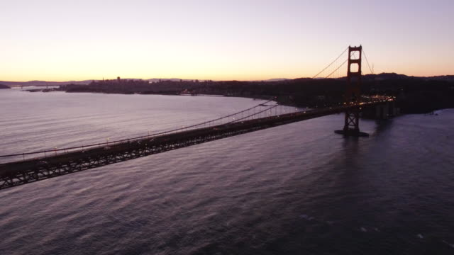 View of Golden Gate Bridge at dusk