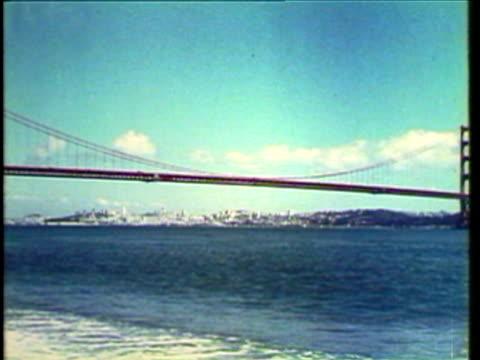 1953 WS PAN View of Golden Gate Bridge / San Francisco, California, USA / AUDIO