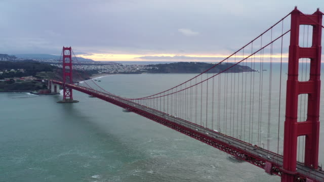 view of golden gate bridge / san francisco, california, usa - red cloud sky stock videos & royalty-free footage