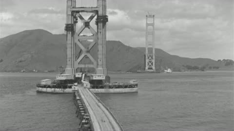 ws view of golden gate bridge under construction - bridge built structure stock videos & royalty-free footage