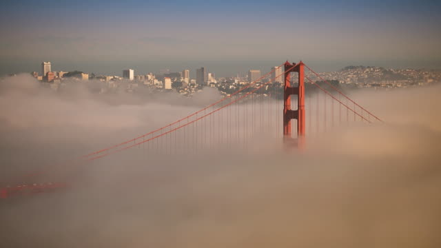 WS T/L View of golden gate bridge with ine tower sticking out of fog / San Francisco, California, United States