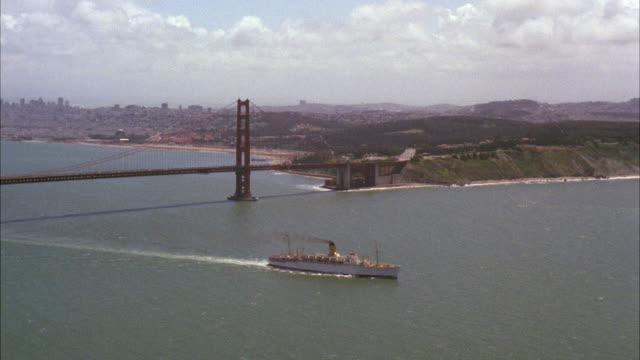 AERIAL WS View of Golden Gate Freighter / San Francisco, California, United States