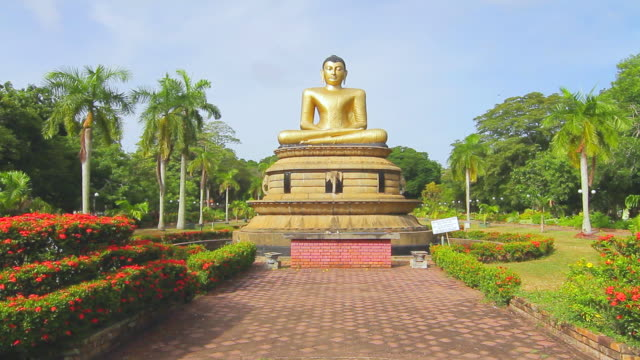 ws view of golden seated buddha statue at viharamahadevi park (victoria park) / colombo, western province, sri lanka - sri lankan culture stock videos & royalty-free footage
