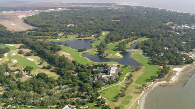 WS AERIAL View of golf course and houses / Georgia, United States