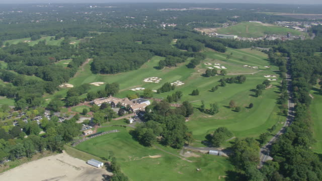 WS AERIAL View of Golf Course at Long Island / New York, United States