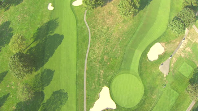 MS AERIAL View of golf course / New York, United States
