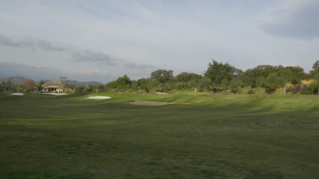 TS WS view of golf course with club house, RED R3D 4K