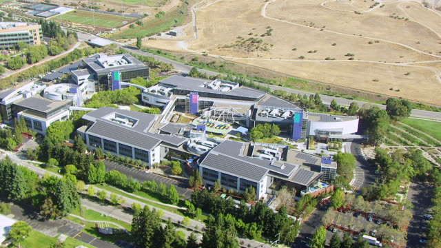 WS PAN AERIAL POV View of Googleplex, Google campus area / Mountain View, California, United States
