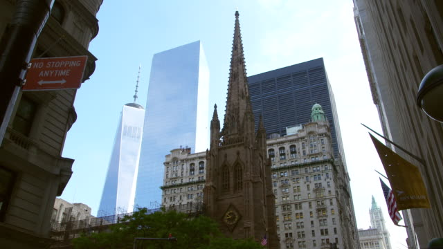 MS View of Grace Church steeple with World Trade Center in background / New York, United States