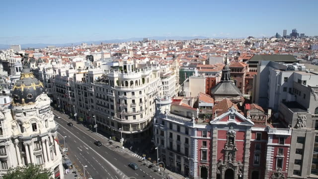 view of gran via in madrid, spain. - famous place stock videos & royalty-free footage