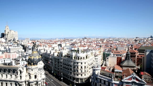 vdo : view of gran via in madrid,  spain - madrid stock videos and b-roll footage