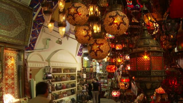 view of grand bazaar in istanbul, turkey - grand bazaar istanbul stock videos & royalty-free footage
