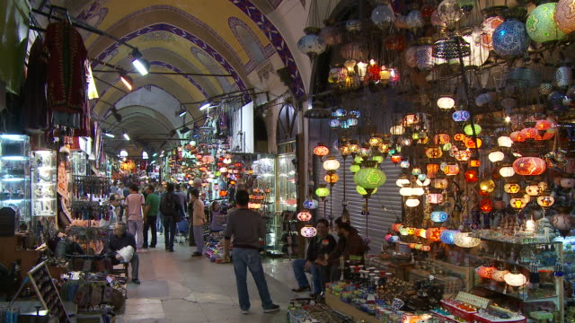 view of grand bazaar in istanbul turkey - grand bazaar istanbul stock videos and b-roll footage