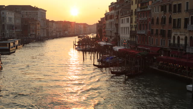 view of grand canal from rialto bridge, venice, italy - lagoon stock videos & royalty-free footage