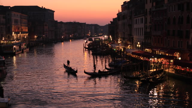view of grand canal from rialto bridge, venice, italy - unesco world heritage site stock videos & royalty-free footage