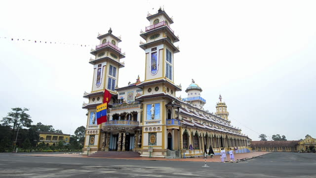 ms view of grand cao dai temple / tay ninh, tay ninh province, viet nam - tay ninh stock videos & royalty-free footage