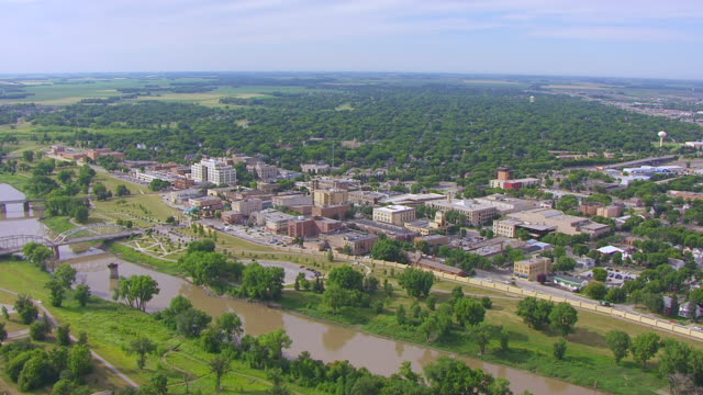 WS AERIAL TS View of Grand Forks Town Square and red river / Grand Forks, North Dakota, United States