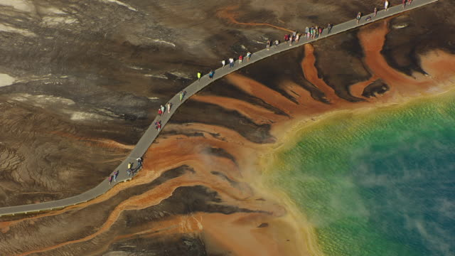 AERIAL view of Grand Prismatic Spring and tourists on boardwalk at Yellowstone National Park