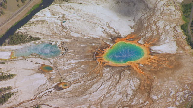 WS AERIAL TS ZI View of Grand Prismatic Spring in Midway Geyser Basin located in Yellowstone National Park  / Wyoming, United States
