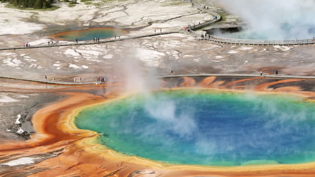 WS HA View of Grand prismatic spring yellowstone national park / Montana, United States
