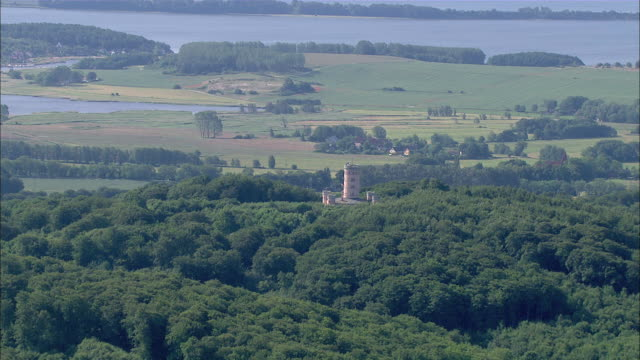 ms aerial view of granitz hunting chateau / ruegen, mecklenburg-vorpommern, germany - rügen stock videos & royalty-free footage
