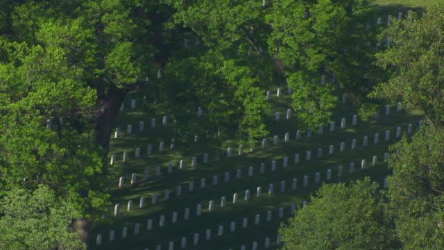 WS AERIAL POV View of gravestones at Arlington National Cemetery / Arlington County, Virginia, United States