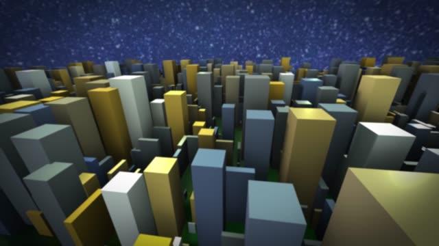 グレーの 3d 都市コンセプトのビュー - 投影図点の映像素材/bロール