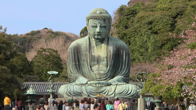 WS View of Great Buddha with tourists in foreground / Kamakura, Kanagawa, Japan
